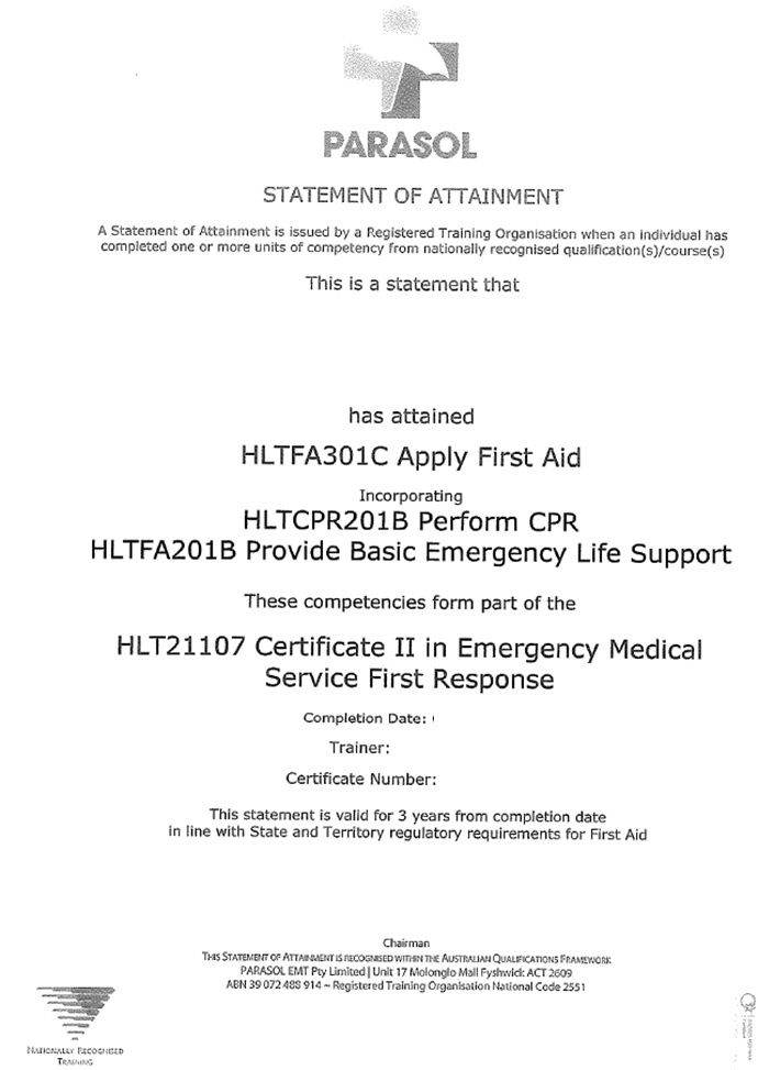 First Aid Certificate Melbourne Best Design Sertificate 2018