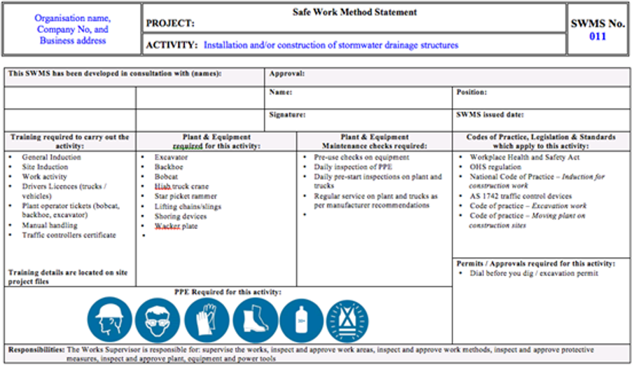 Risk Management SMS Knowledge Base Pegasus Business Rules – Health and Safety Method Statement Template