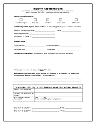 Whs incident report template doritrcatodos whs incident report template altavistaventures Images